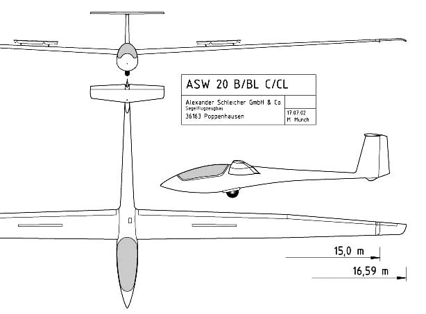 ASW 20 Glider 3 view