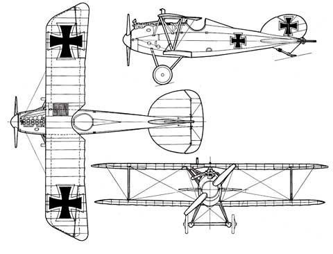 Albatros DVa -three view