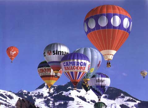 Hot air balloons in the Alps