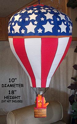 Picture of garfield in a hot air balloon paper model decorated with American flag