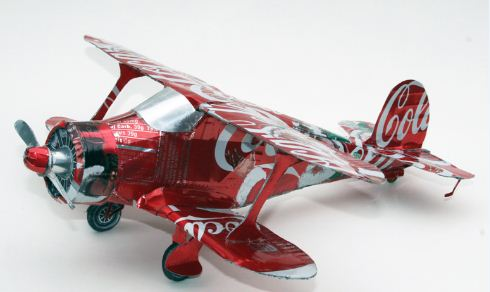 Coke Can Staggerwing built by Bob Penikas