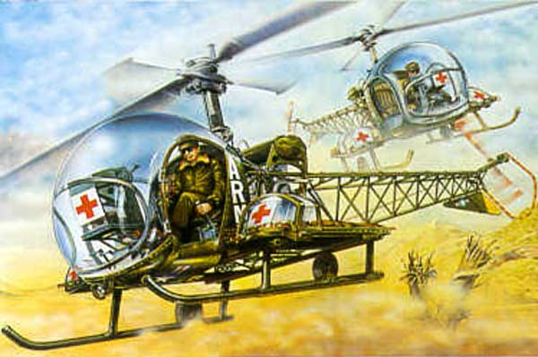 artwork for the FG paper model of the Bell H-13 Helicopter