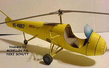 Bell Model 30 Helicopter paper model