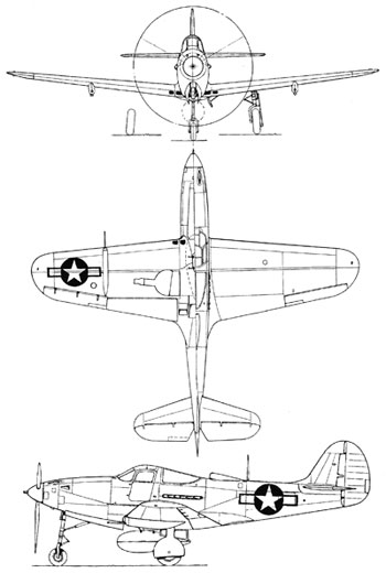 3 View of the Bell P-39 Airacobra