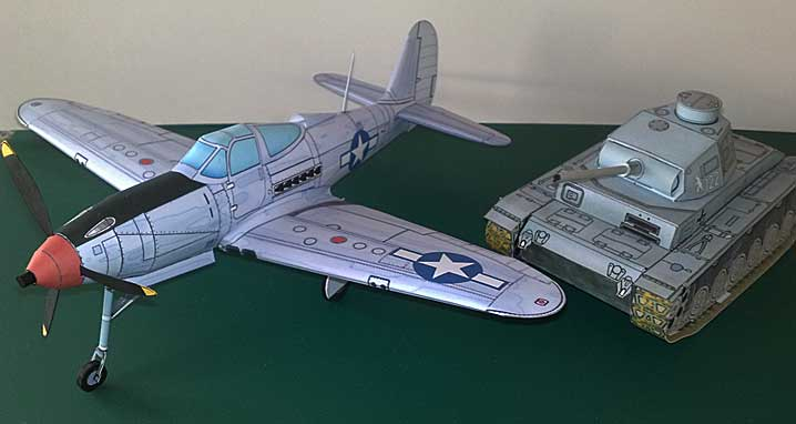 Bell P-39 Airacobra paper model from Fiddlersgreen