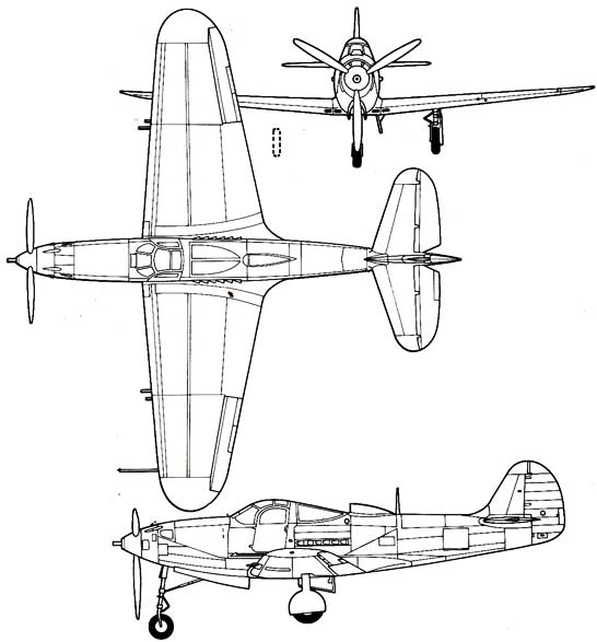 P-39 Airacobra Three view