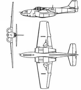 P-59 Bell Airacomet 3View