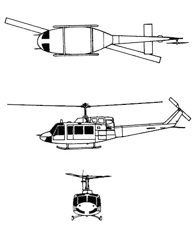 huey three view 3 vu UH-1 UH1 UH 1 helicopter