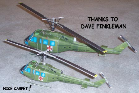 Bell UH-1 Huey Helicopter downloadable paper model