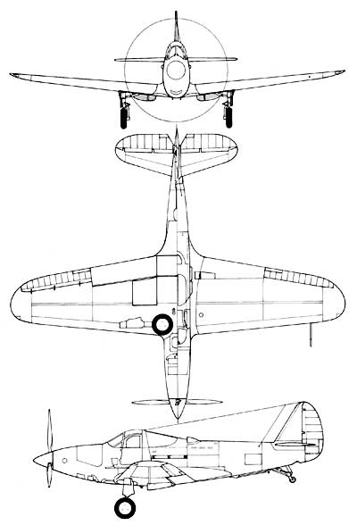 3 View of Bell XFL-1 Airabonita