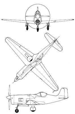 3 View of the Bell XP-77