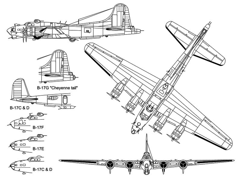 3 View Boeing B-17 Flying Fortress