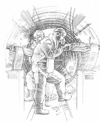 Sketch of the B-17 side gunners