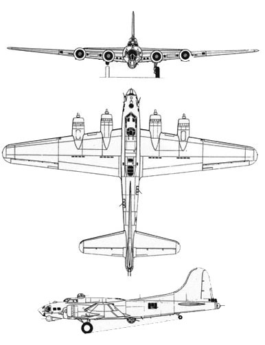 Downloadable card model Boeing B-17 Bomber Flying Fortress b17