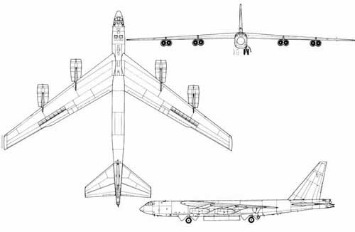 Boeing b-52 stratofortress informatin history usaf 3view