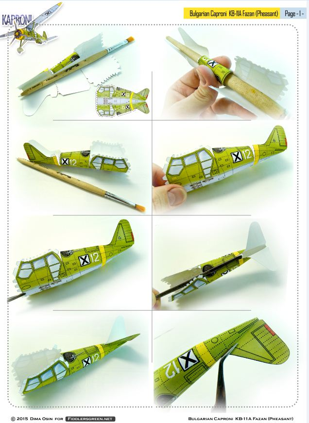 Page 1 of illustrated tutorial for building the Caproni KB 11-a paper model airplane