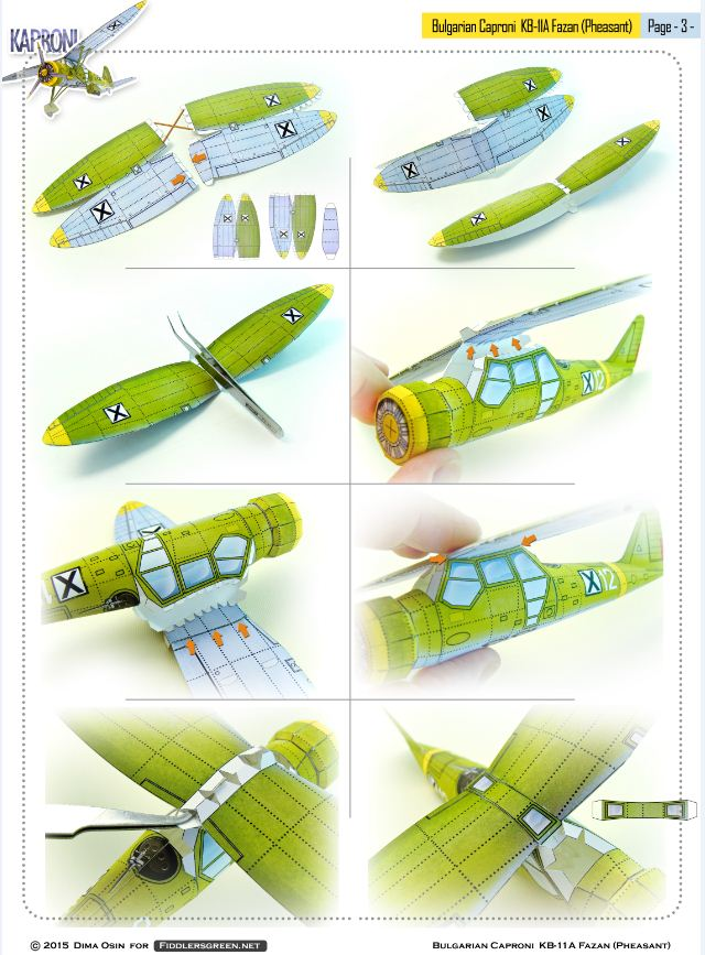 Page 3 of illustrated tutorial for building the Caproni KB 11-a paper model airplane