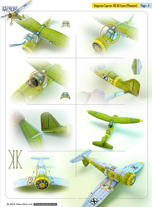 Page 4 of illustrated tutorial for building the Caproni KB 11-a paper model airplane