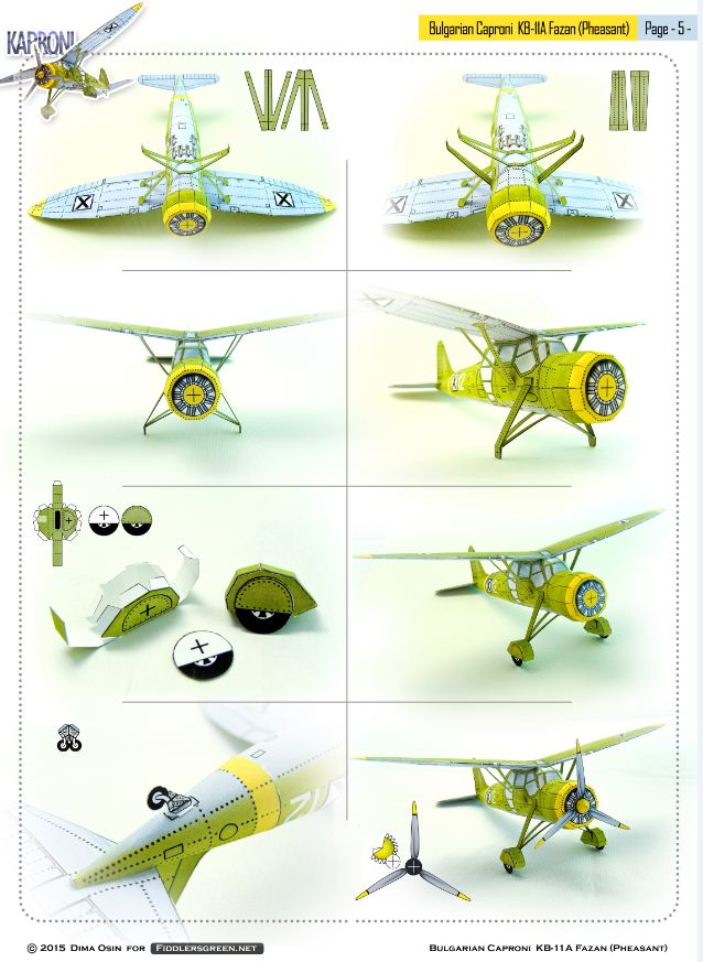 Page 5 of illustrated tutorial for building the Caproni KB 11-a paper model airplane