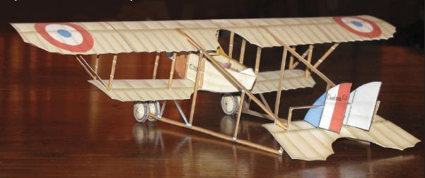 beta build French Caudron G.3 paper model view 1