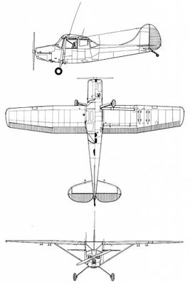 3 View of the Cessna L-19 Bird Dog