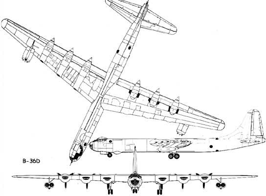 Convair info B36 peacemaker bomber information history 3 view