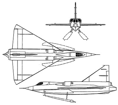 3 View Convair Sea Dart