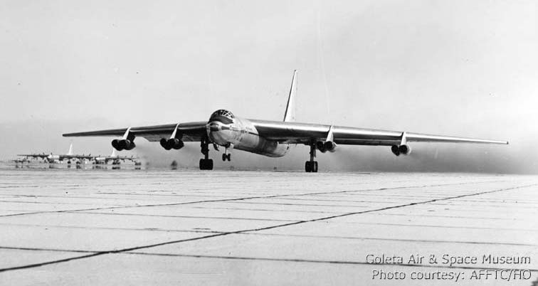 YB-60 Taking off from Edwards AFB.