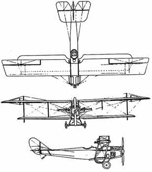 three view curtiss jenny