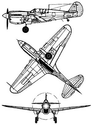 3 View Curtiss P40 Warhawk