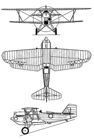 3 View of the Curtiss P-6e Hawk