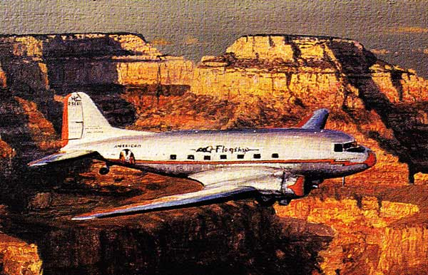 Douglas DC -3 over the Grand Canyon