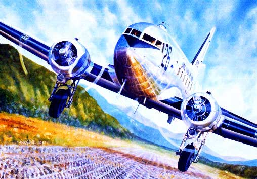 Douglas C-47 artwork for paper model download