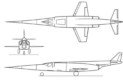 3 View of the Douglas X-3 Stiletto