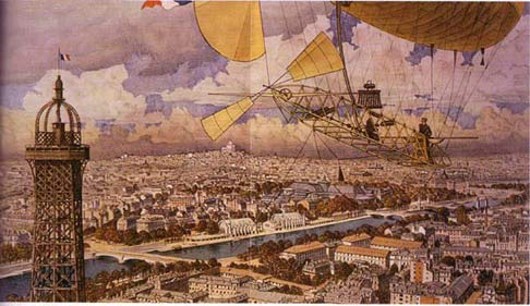 Dumont airship-19 over Paris