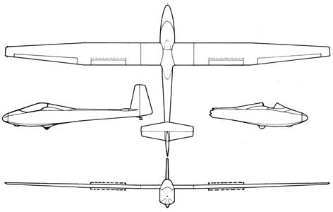 Three views of the Duster-Sailplane