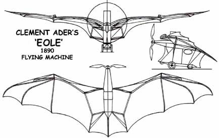 3 view of the Eole Flying Machine