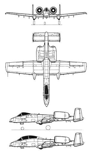 Fairchild A-10 Thunderbolt II 3 View Top