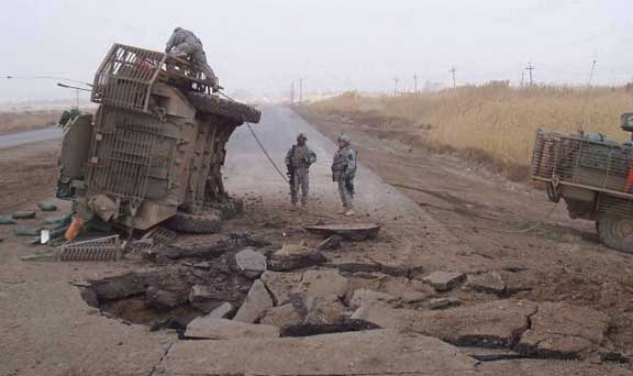 Roadside destruction in war torn Middle East - Flying Humvee to the rescue!