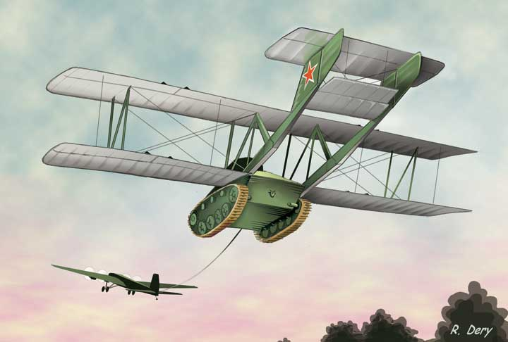 illustration for Antonov A-40 KT Flying Tank paper model