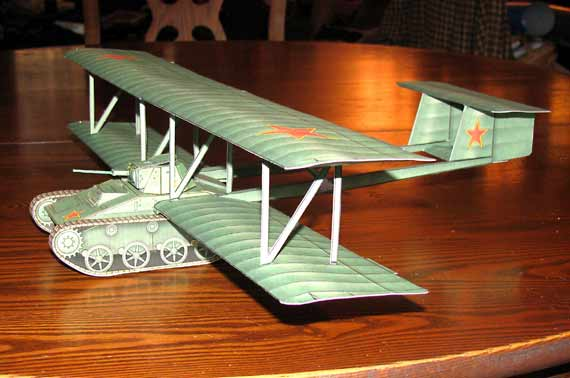 Antonov A40 KT Flying tank cardmodel fiddlersgreen.net side view