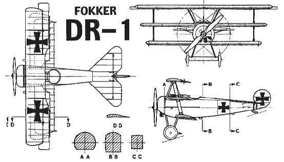Fokker Dr-1 three view
