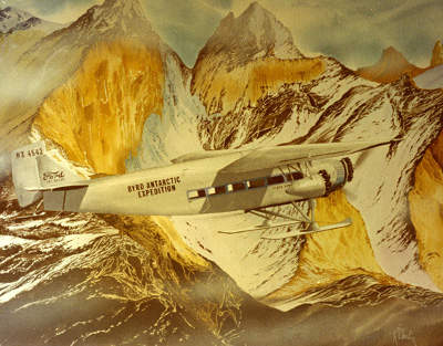 Admiral Byrd Flying over the Antarctic Peaks.
