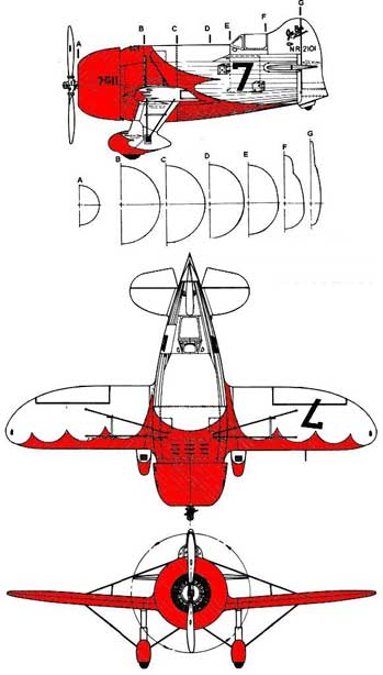 Gee Bee Racer three views