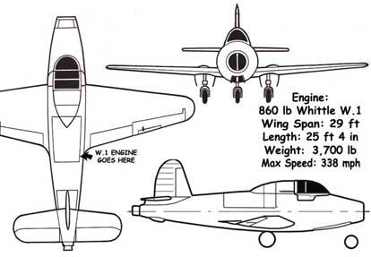 Gloster E28 Three Views