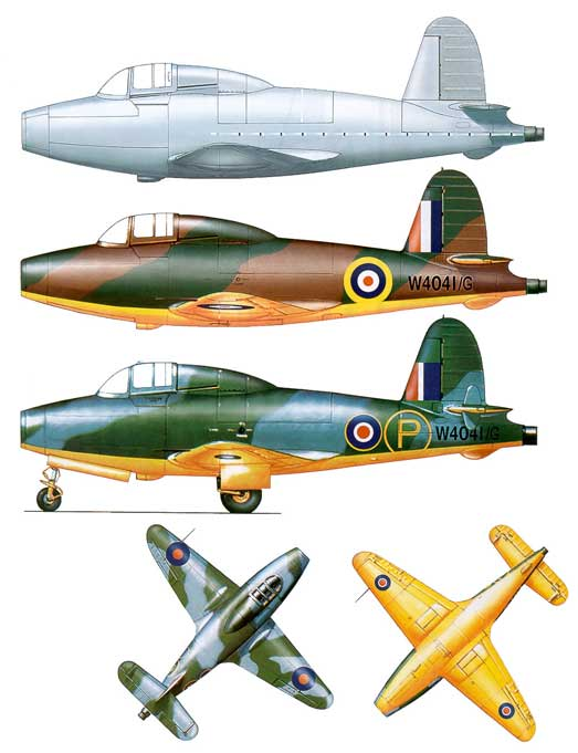 Three versions of the Gloster Whittle E28 first jet