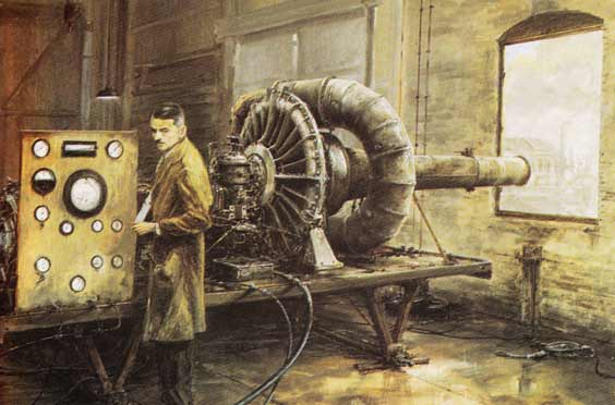Frank Whittle at work building a jet engine