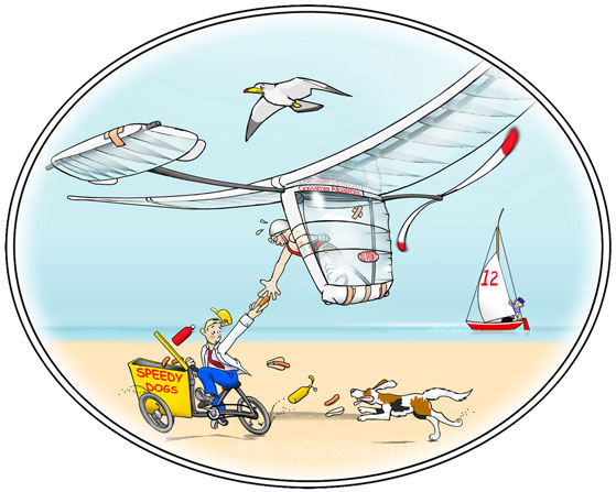 Cartoon of Gossamer Albatross pilot being handed a hotdog in midflight