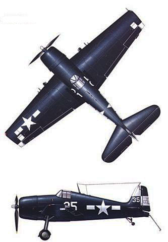 Grumman F6F Hellcat  Two view