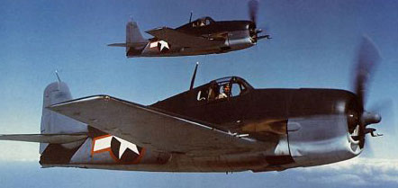 Grumman F6F Hellcat  pair  in flight